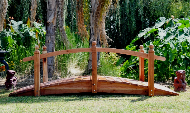 10 Foot Span Curved Single Rail Garden Bridge