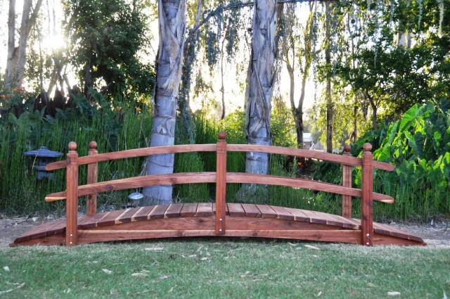 12 Foot Span Curved Single Rail Garden Bridge