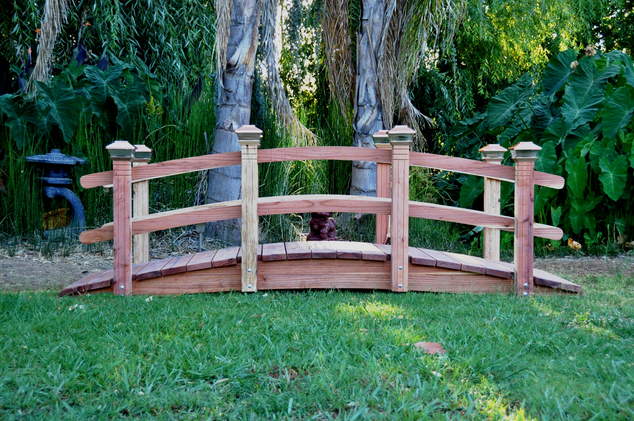 12 foot span curved double rail garden bridge - Japanese Wooden Garden Bridge