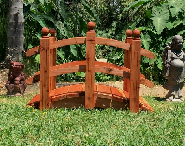4 Foot Span Curved Double Rail Garden Bridge