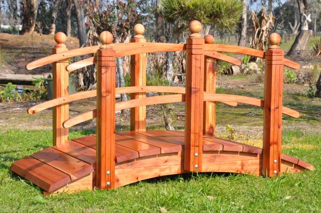 6 Foot Span Curved Double Rail Garden Bridge