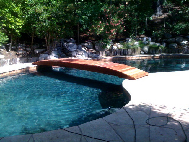 Large span no post bridges no post foot bridges 4 20ft for Swimming pool koi pond conversion
