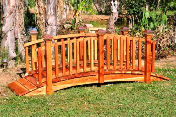 Spindle Garden Bridges  Bring the beauty of peaceful nature escapes to your garden with the Redwood Garden full Spindle Curved Rail bridge.