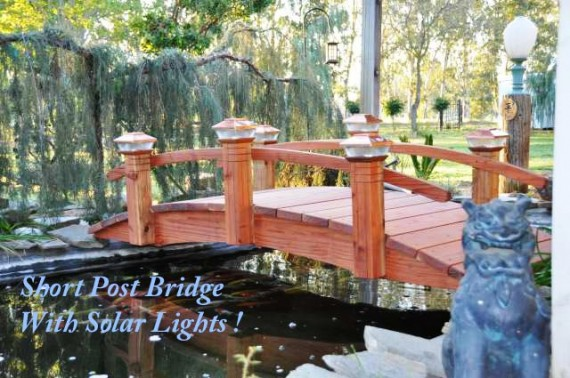 Short Post  Garden Bridges  Short Post bridges are great for not blocking your great landscaped yard ,japanesse koi pond landscaping