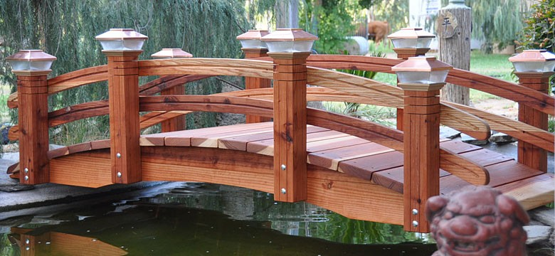 Exellent Japanese Wooden Garden Bridge Dark Brown Stain Bridges At