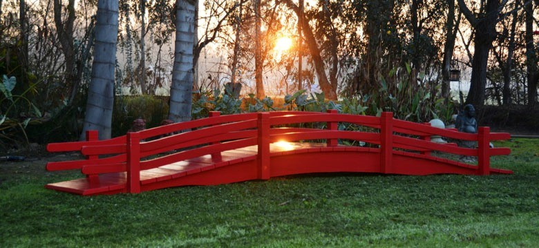 10 ft high arhed garden bridges double rails bridge with 10 solar lights