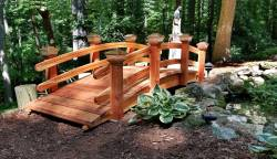 "Here is a custom bridge , Its a 10ft x 3 ft top rail is 24 "" above the walking surface, Heavy duty grooved rails 4 post on each side.! Solar lights,"